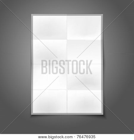 Blank white realistic folded poster with place for your design and branding, isolated on grey backgr