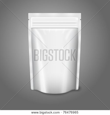 Blank white realistic plastic pouch with zipper. Vector