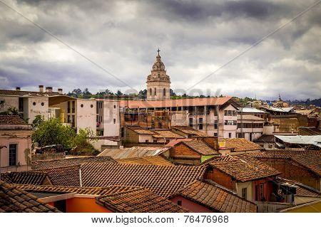 tower of Santo Domingo church in colonial Quito Ecuador South America