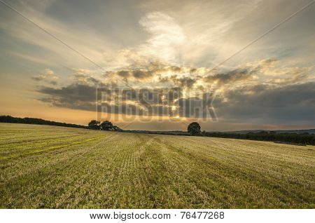 sunset in farm fields, cornwall, uk