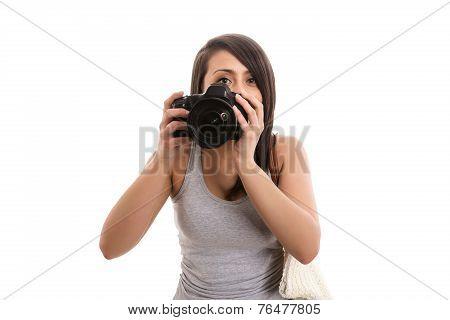 Young cute tourist take a photo