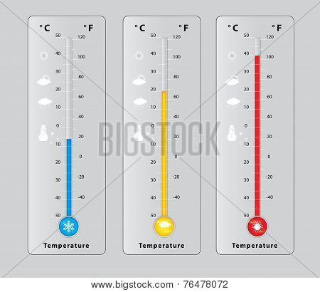 Three Thermometers With Different Temperatures, Measure Diagnostic