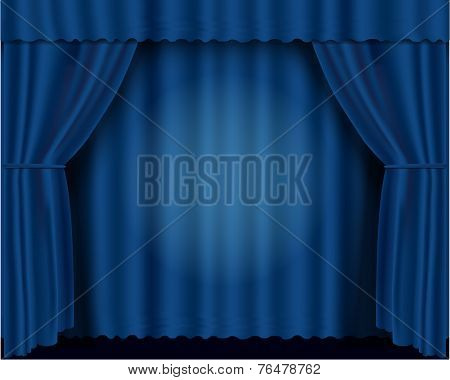 Blue vector theatrical curtains eps 10