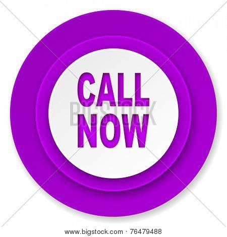 call now icon, violet button