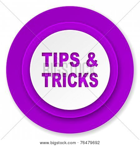 tips tricks icon, violet button