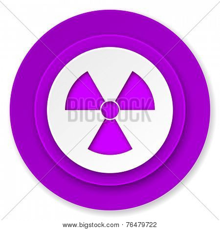 radiation icon, violet button, atom sign