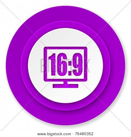 16 9 display icon, violet button