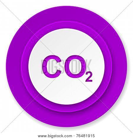 carbon dioxide icon, violet button, co2 sign