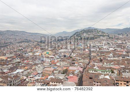Aerial view rooftops Quito Ecuador South America