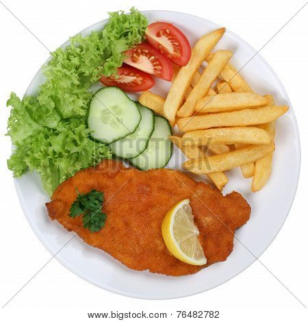Schnitzel Chop Cutlet Meal With French Fries On Plate Isolated