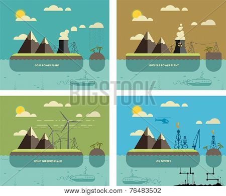 Ecology Concept. Environment, Green Energy and Nature Pollution Designs. Nuclear, coal, wind turbines power Plants and oil towers. Flat Style.