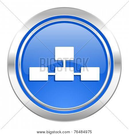 database icon, blue button