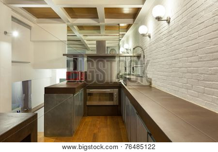Architecture, wide loft, domestic kitchen view