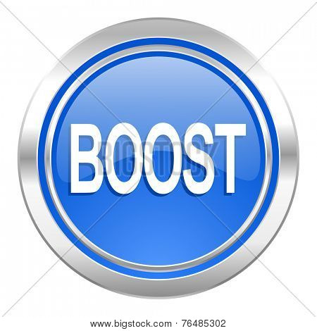 boost icon, blue button