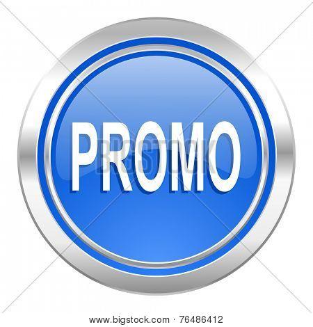 promo icon, blue button