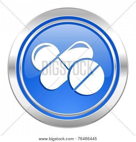 medicine icon, blue button, drugs symbol, pills sign