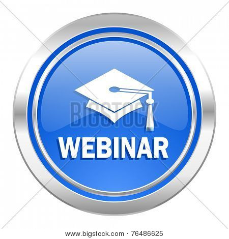webinar icon, blue button