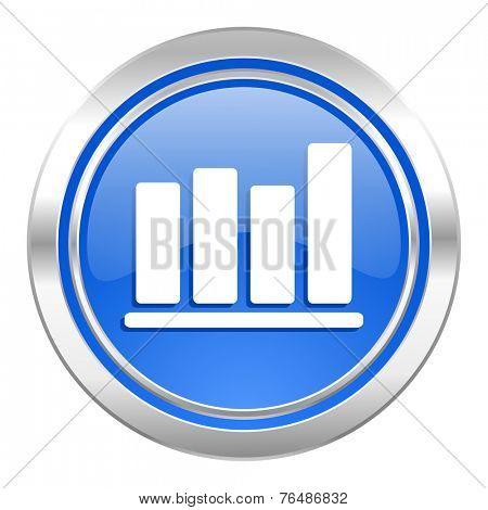 bar chart icon, blue button