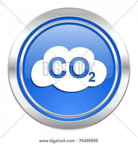 carbon dioxide icon, blue button, co2 sign