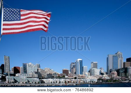 American Flag over Seattle