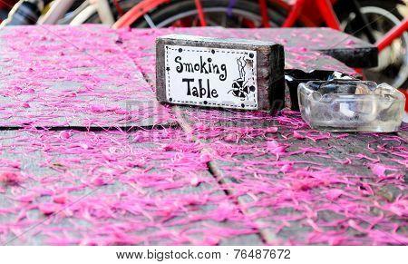 Smoking Table Area And Ashtray