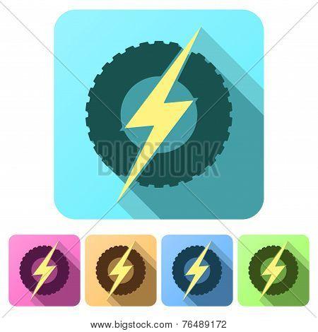 Set Flat icons of round wheel with lightning. Eco electric transport theme.