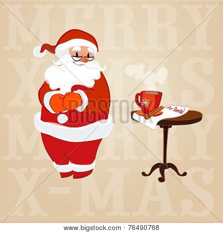 Santa Claus In Glasses Made Coffee