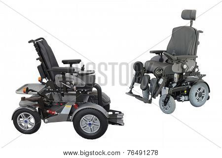 wheelchair under the white background