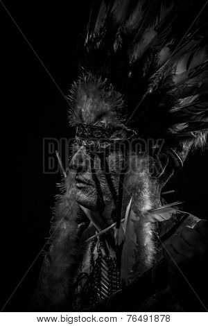 tribe Native, American Indian chief with big feather headdress