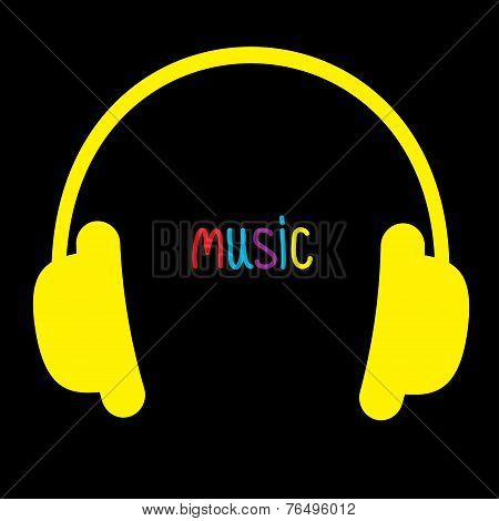 Yellow Headphones And Colorful Word Music. Card.