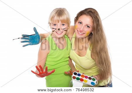 Portrait Of Two Cheerful Girls
