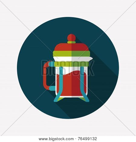 Coffee Maker Flat Icon With Long Shadow,eps10