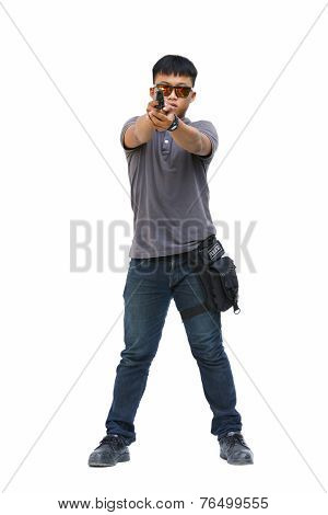 Spy man in the mission, Killer mission, Portrait Of Young Man With Gun On White Background