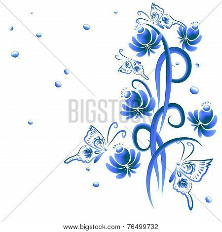 Illustration with floral ornament in blue tones