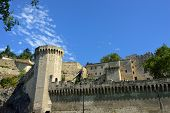 foto of avignon  - View on the tower and fortress wall of medieval centre of Avignon - JPG