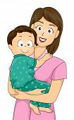 picture of pajamas  - Illustration Featuring a Mother Carrying Her Pajama - JPG
