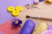stock photo of arts crafts  - Scrapbooking craft materials on bright background - JPG