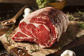 image of ribs  - Raw Grass Fed Prime Rib Meat with Herbs and Spices - JPG
