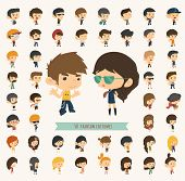 image of caricatures  - Set of 50 young people with hipster fashion style eps10 vector format - JPG