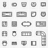picture of work bench  - SEt of Top view furniture icons on grey background - JPG