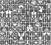 pic of jainism  - Image of white icons on gray background on the topic Religion - JPG