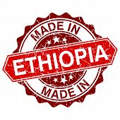 stock photo of ethiopia  - made in Ethiopia red stamp isolated on white background - JPG
