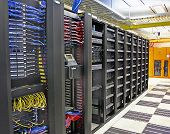 stock photo of racks  - landscape view of very large data centre data storage array
