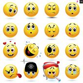 pic of human face  - Vector set of smiling ball icons with different face expression - JPG