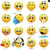 picture of fools  - Vector set of smiling ball icons with different face expression - JPG