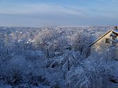 image of snowy hill  - snowy small town in the hills of the valley - JPG