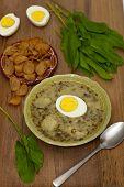 image of sorrel  - Sorrel soup with egg and greens - JPG