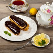 image of eclairs  - Delicious homemade eclairs with a chocolate ganache - JPG
