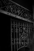 picture of initials  - Black and white picture of old iron gate detail curved with initials - JPG