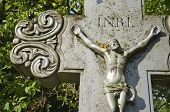 picture of inri  - Crucifixion Jesus Christ on cross in old cemetery - JPG
